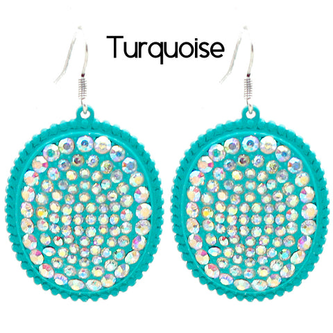 Turquoise Bling Oval AB Earrings