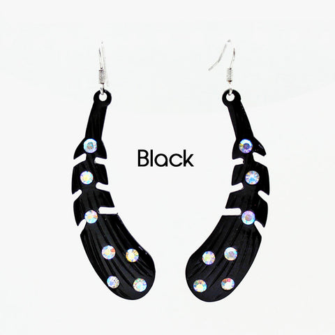 Black Bling Rhinestone Feather Earrings