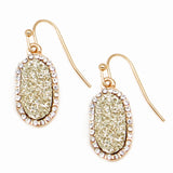 Tiny Druzy Gold Stone Earrings