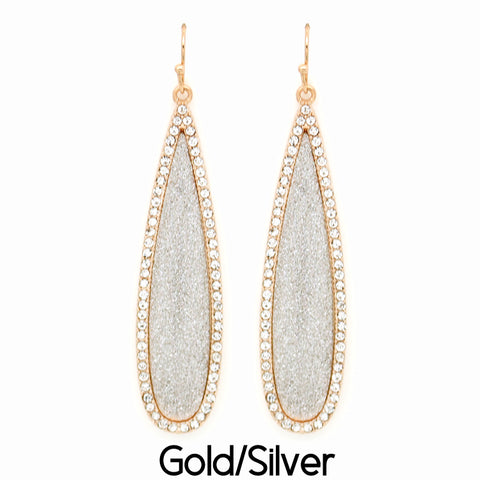Gold Shimmer Oblong Teardrop Earrings