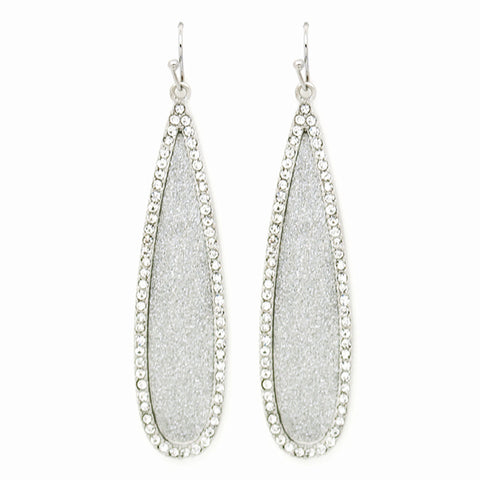 Silver Shimmer Oblong Teardrop Earrings