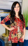 Red Leopard Flutter Tunic