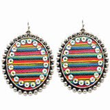Serape Oval Earrings with Bling Border