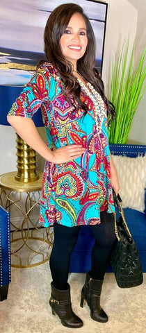 *Turquoise Multi Color Paisley Flutter Tunic Top