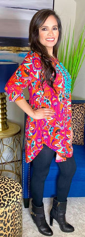 Kaleidoscope Pink and Orange Design Scoop Tunic