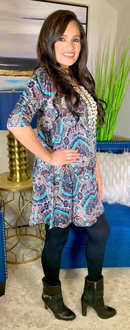 S-M-L : Mint and Brown Paisley Damask Flutter Tunic