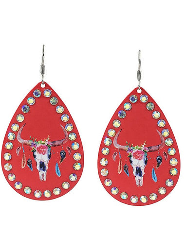 Bright Red Teardrop Earrings with Rhinestone Trim and Painted Floral Steer