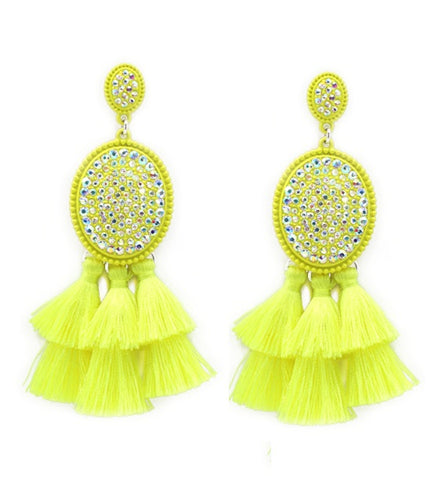 Neon Yellow AB Rhinestone Oval Dangle Earrings with Fringe Tassels