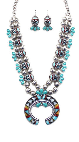 Zuni Inspired Squash Blossom Necklace Set