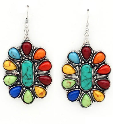 Colorful Concho Western Earrings (medium size)