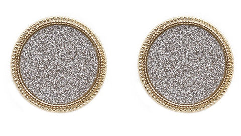 Silver Shimmer Circle Stud with Gold Trim