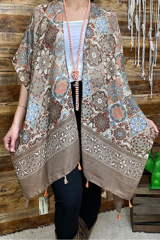 Cream & Tan Mandala Designs Shawl