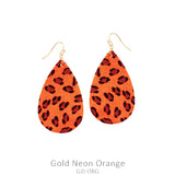 Neon Orange Leopard Teardrop Earrings