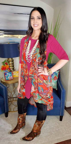 *Rust Orange Paisley High Low Vest