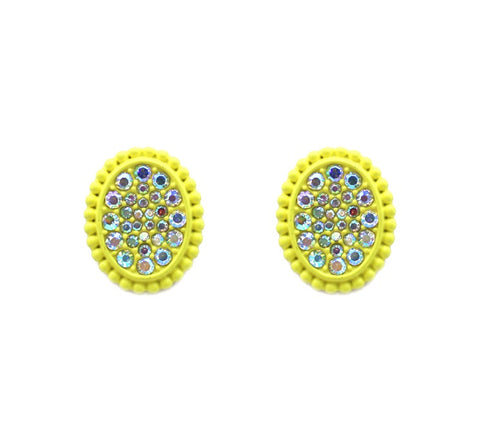 *Neon Yellow Oval Bling AB Medium size stud earrings