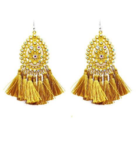 *Mustard Bling Ornate Teardrop Earrings with Fringe Tassels