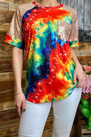 *Multi Color Tie Dye Top with Sequin Sleeves & Pocket
