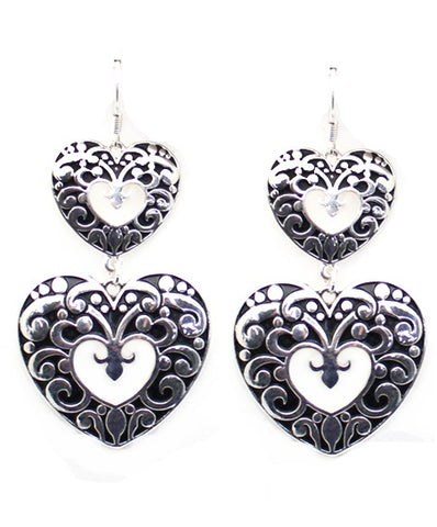 Silver Heart Double Layer Earrings