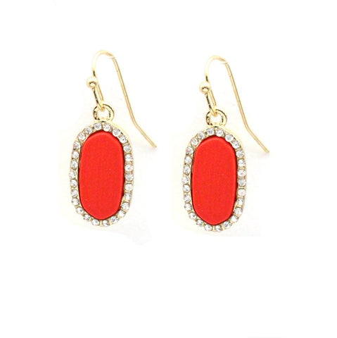 Red Tiny Oval Earrings with Gold Bling Trim