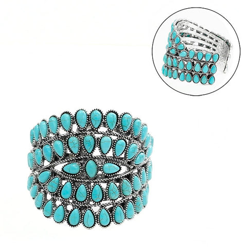 Turquoise Multi Teardrop Wide Cuff