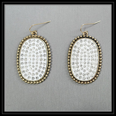 White Oval Earrings with Rhinestones Gold Border