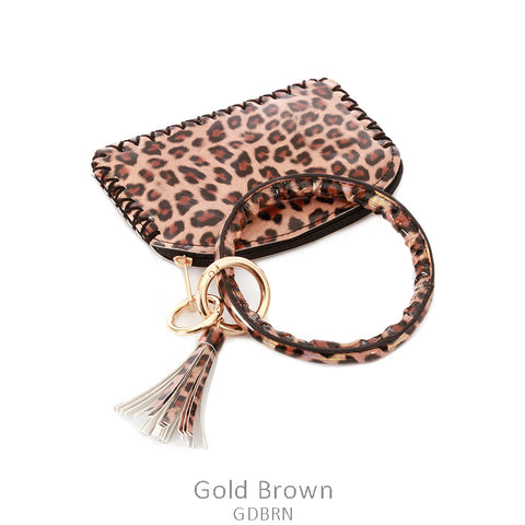 Metallic Gold Leopard Print Key Chain Ring & Coin Purse