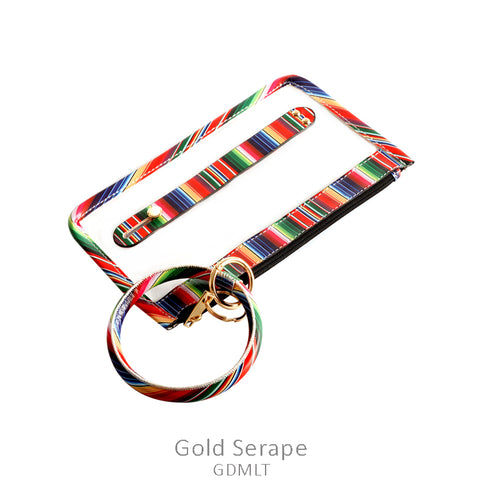 Serape Trim Clear Wallet / Keychain Ring Wristlet