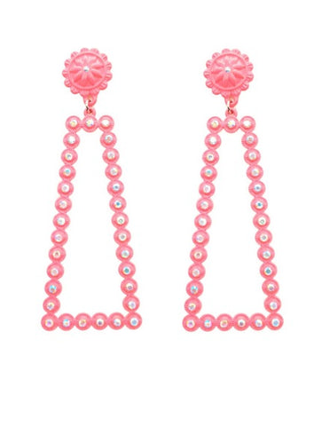 Neon Pink Bling Thin Rectangle Earrings with stud post
