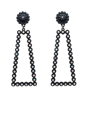 Black Bling Thin Rectangle Earrings with stud post