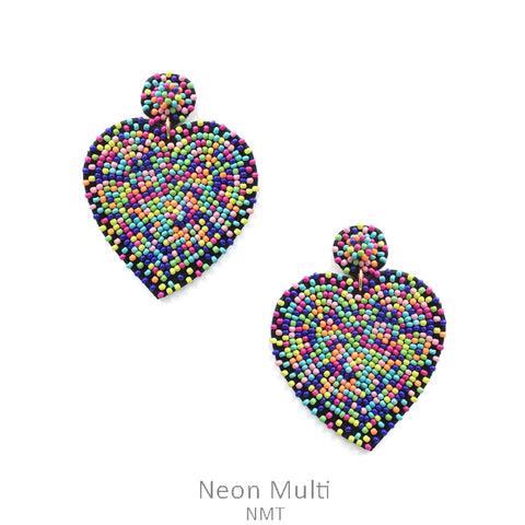 Neon Multi colored Seed Bead Heart Earrings