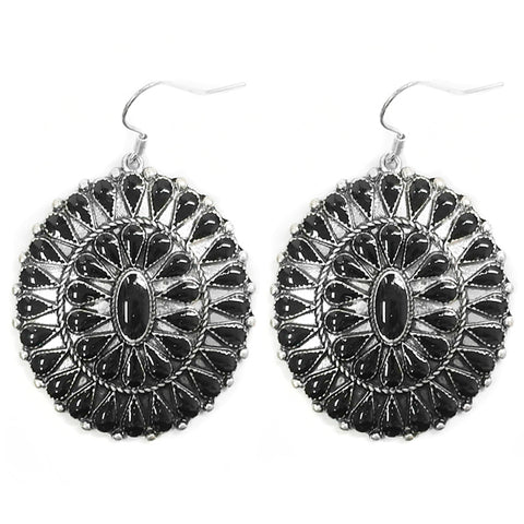 Black Sunburst Inlay Concho Earring