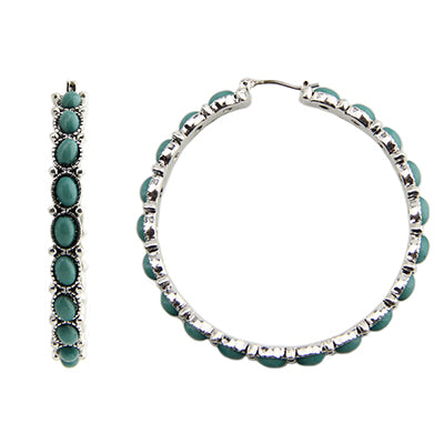 Turquoise Medium Hoop Earrings