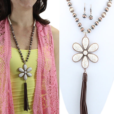 Cream Flower Pendant Copper Beaded Necklace with Tassel