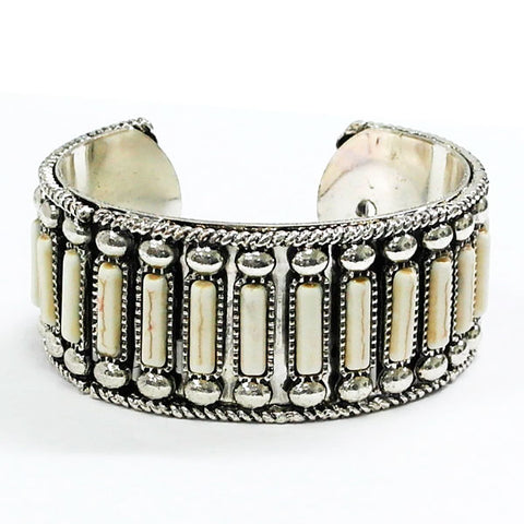 Cream Rectangle Stone Silver Cuff Bracelet