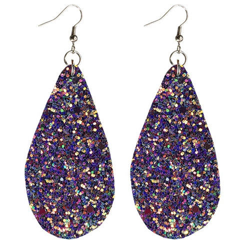 Purple Iridescent Glitter Teardrop Earrings