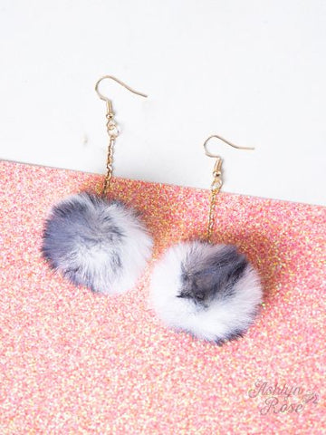 White & Black Pom Pom earrings