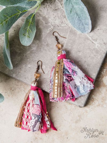 Pink Floral, Lace and Glitz Fabric Tassel Earrings
