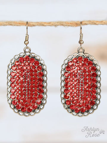 *Red Bling Oval Earrings with Copper Braided Border