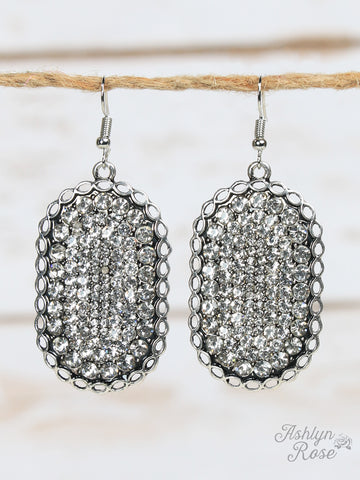 Bling Rhinestone Earrings with Silver Braided Border