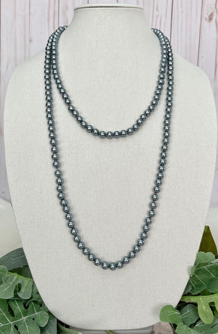 "Grey Pearl 60"" Layering Necklace"
