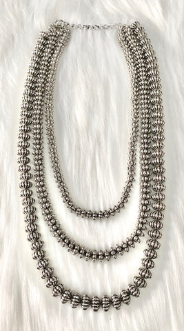 Burnished Silver Textured Beaded 3 Strand Necklace