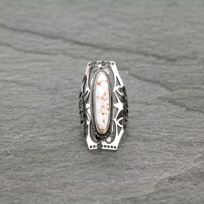 Silver Cuff Ring with Cream Oval Stone