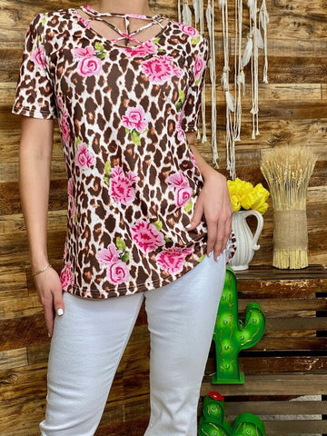 Light Leopard Top with Pink Floral Print
