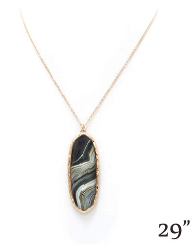 Black & White Marble Swirl Thin Oval Pendant Necklace