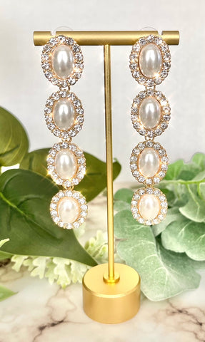 Cascading Pearl Dangle Earrings with Bling Trim