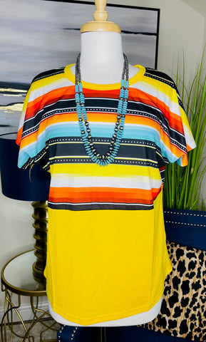 Yellow Top with Serape Print & Short Sleeves