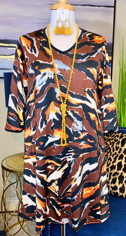 Brown Abstract Flutter Tunic