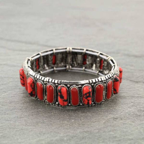 Red Stones Silver Stretch Bracelet