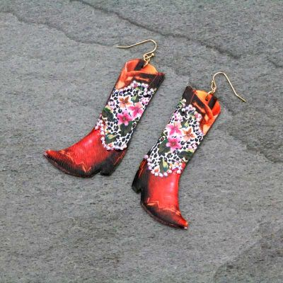 Floral Leopard Bling Boots Earrings