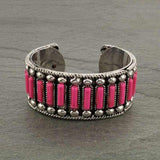 *Pink Rectangle Stones Silver Cuff Bracelet